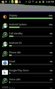 Example of battery usage from Screen
